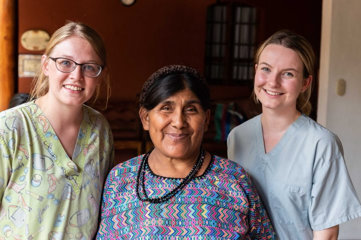 Catalina Ixcopal, shown with mission nurses Arabelle Reed and Gillian Manchip